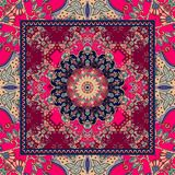 Detailed floral shawl design. Flower mandala and ornamental frame. Stock Photography