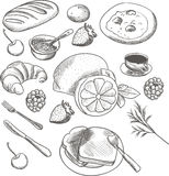 Detailed food sketch Stock Photos