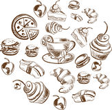 Detailed food sketch Royalty Free Stock Photography