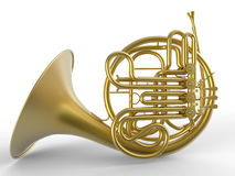 Detailed french horn side view Stock Photo