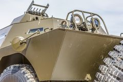 Detailed front view of old armored military vehicle. White background, car, arms, army, power, heavy, all-terrain, wheels, armed, headlights, off-road, object stock photo