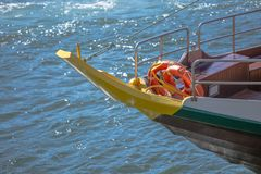 Detailed front view of recreational boat, for touristic tours, on Douro river royalty free stock photo