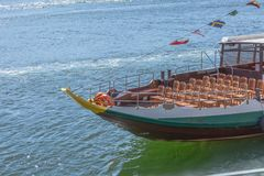 Detailed front view of recreational boat, for touristic tours, on Douro river royalty free stock image
