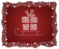Detailed gift box on a sledge Royalty Free Stock Images