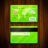 Detailed glossy green credit cards with two sides Royalty Free Stock Images