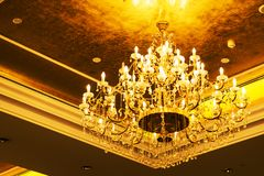 the detailed Gold chandelier royalty free stock photo