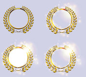Detailed golden laurel wreath award icon set. Victory or honor achievement, quality product, anniversary Royalty Free Stock Photography
