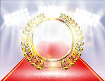 Detailed golden laurel wreath award with Red carpet, spotlight background and sparks Stock Photography