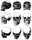 Detailed graphic black and white human skulls set. Vector set of 9 cool realistic detailed graphic black and white human skulls in different projections Royalty Free Stock Photo