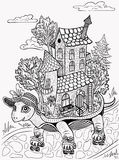 Detailed graphical illustration. Travel . Tortoise riding rollers. House on wheels . Relocation.  Fairy town .sketch   white bac. Detailed graphical illustration Stock Images