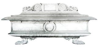 Detailed grave with decorations made of stone on a white background Royalty Free Stock Images