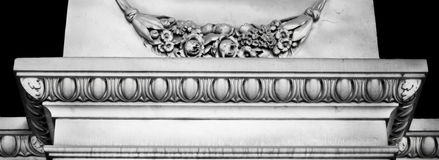Detailed, grey architecture decoration elements with floral motives. Stock Image