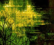 Detailed grunge frame. Very detailed and heavily layered abstract frame with tree silhouettes - green version Stock Photography