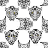 Detailed hand drawn Cheetah and lynx portrait. Vector illustration. Royalty Free Stock Photography