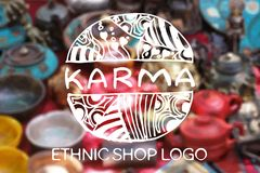 Detailed hand drawn zentangle. Karma. Detailed hand drawn zentangle logo on blurred background. Karma.  Consept for  ethnic shops, yoga studios, travel agencies Stock Photo