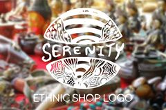 Detailed hand drawn zentangle logo. Serenity Stock Photos