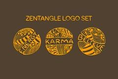 Detailed hand drawn zentangle logo set Royalty Free Stock Photos