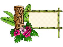Detailed hawaiian banner with tiki statue. Colorful Hawaiian tropical banner. Graphics are grouped and in several layers for easy editing. The file can be scaled Stock Images