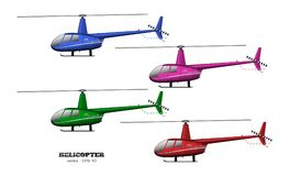 Detailed helicopter. Side view. 3d image of business vehicle.  Industrial isolated drawing. Copter in realistic style. Vector illustration Royalty Free Stock Photography