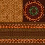 Detailed Henna Mandala design with matching border Stock Photo