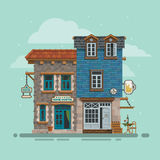 Detailed hostel and bar building facade. Vector. Royalty Free Stock Image