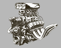 Detailed hot road engine with skull tattoo Royalty Free Stock Photos