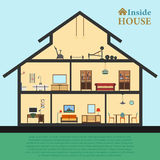Detailed house in cut. Different modern furniture interiors. Flat style vector illustration Stock Photos