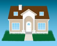 Detailed house with grass. Isolated on blue background vector illustration