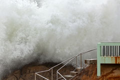 Detailed huge breaking sea wave Stock Images