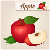 Detailed Icon. Red apple Royalty Free Stock Photo