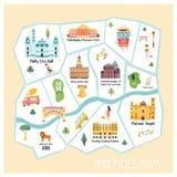 Detailed illustrated map of Philadelphia city royalty free illustration