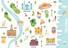 Detailed illustrated map of Philadelphia city stock illustration