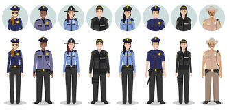 Police people concept. Set of different detailed illustration and avatars icons of SWAT officer, policeman, policewoman. Detailed illustration and avatars icons stock illustration