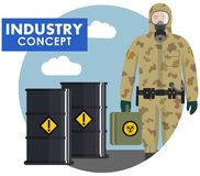 Industry concept. Detailed illustration of worker, soldier in camouflage protective suit on background of barrels with Royalty Free Stock Photos