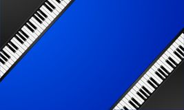 Piano keys frame. Detailed illustration of a blue background with diagonal piano keys, classic music concept Royalty Free Stock Photography