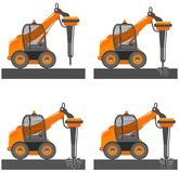 Detailed illustration of car with hammer. Mini excavator with different boom position destroys the asphalt, road, soil. Detailed illustration of car with Stock Photo