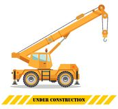 Building crane truck. Heavy equipment and machinery. Construction machine. Vector illustration. Royalty Free Stock Image