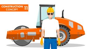 Worker concept. Detailed illustration of workman and compactor   Stock Photo