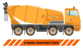 Concrete mixer. Heavy construction machines. Heavy equipment and machinery. Building technique. Vector illustration. Royalty Free Stock Images