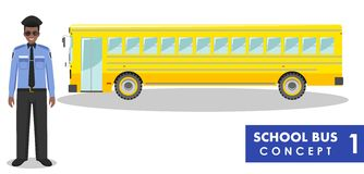 Detailed illustration of driver and yellow school bus in flat style on white background. Education concept. Vector Stock Photos