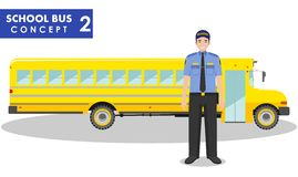 Detailed illustration of driver and yellow school bus in flat style on white background. Education concept. Vector Royalty Free Stock Photos