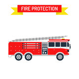 Detailed illustration of fire truck emergency car cartoon vector in a flat style. Fire truck safety department and fire truck siren transport vector. Detailed Stock Image