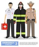 Emergency concept. Detailed illustration of firefighter, doctor and policeman sheriff in uniform standing together in flat style o. Detailed illustration of Royalty Free Stock Photo