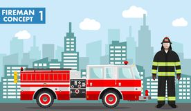 Fireman concept. Detailed illustration of man firefighter and fire truck in flat style on background with cityscape. Vector illust. Detailed illustration of stock illustration