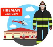Fireman concept. Detailed illustration of firefighter in uniform on background with fire station building and helicopter. Detailed illustration of fireman in Stock Photos