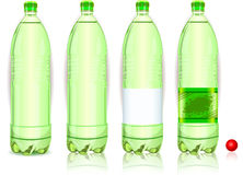 Four Plastic Bottles of Carbonated Drink With Labels Stock Images