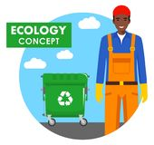 Ecology concept. Detailed illustration of garbage man and green dumpster on blue background in flat style. Vector. Detailed illustration of garbage collector and Stock Images