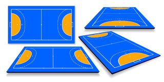 Detailed illustration of a handball field, cort with perspective, eps10 vector.  royalty free illustration