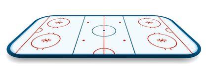 Detailed illustration of a icehockey rink, field, court with perspectives, eps10 vector.  Stock Photo