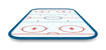Detailed illustration of a icehockey rink, field, court with perspectives, eps10 vector.  Royalty Free Stock Image